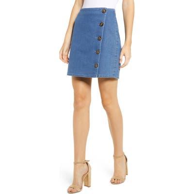Tinsel Side Button Denim Miniskirt, Blue