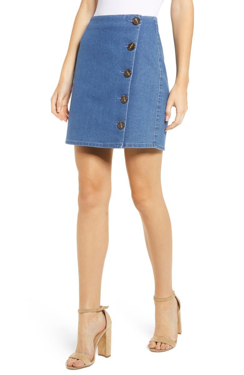 Tinsel Side Button Denim Miniskirt