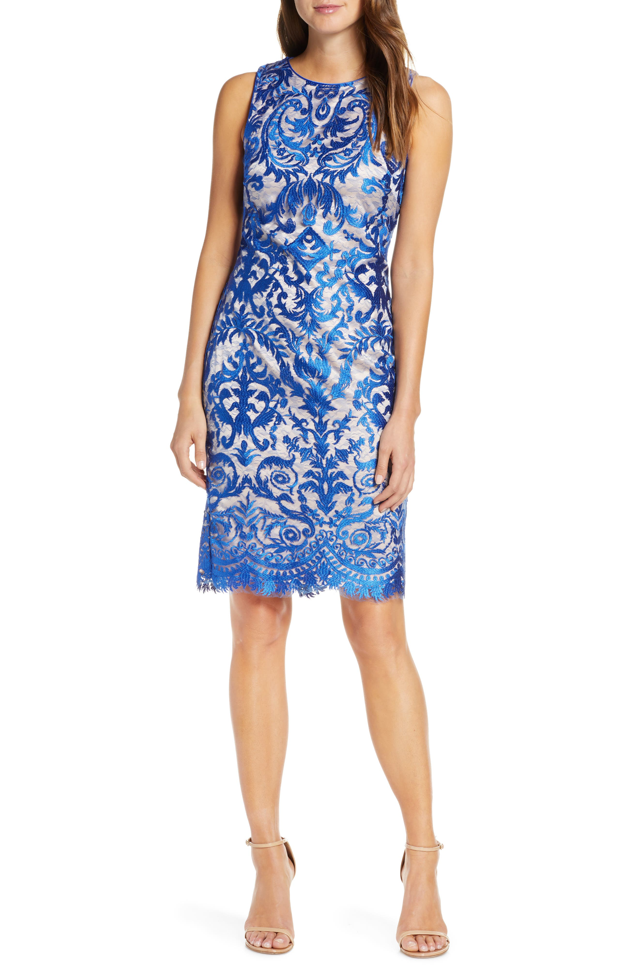 Petite Vince Camuto Embroidered Sheath Dress, Blue
