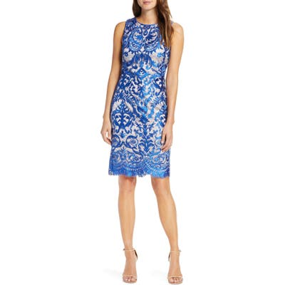 Vince Camuto Embroidered Sheath Dress, Blue