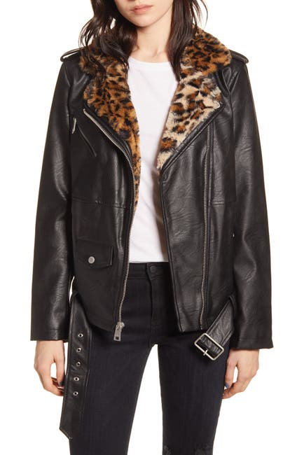 Image of Levi's Faux Leather Faux Fur Collared Moto Jacket