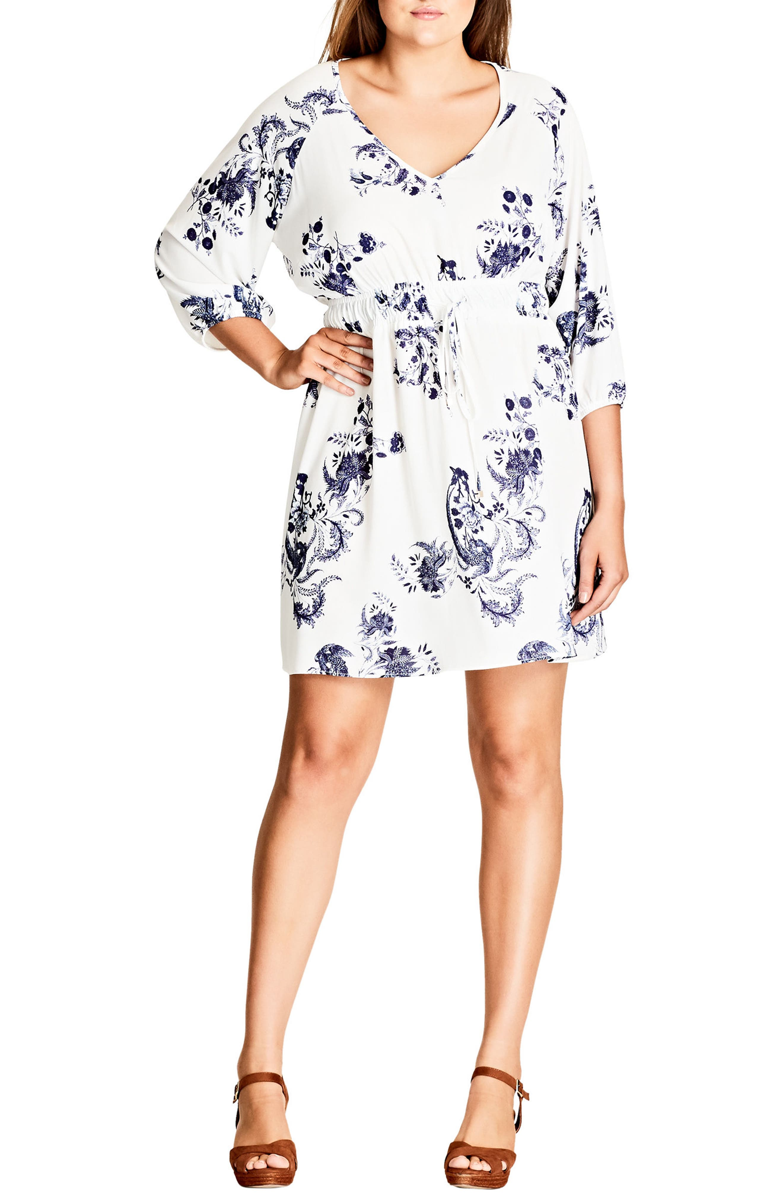 Plus Size City Chic Shinjuku Print Tunic Dress, Beige