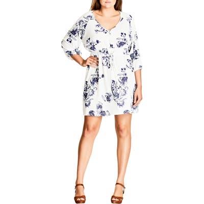 Plus Size City Chic Shinjuku Print Tunic Dress, Beige