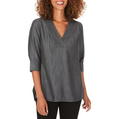 Foxcroft Vaughn Tunic Top, Grey