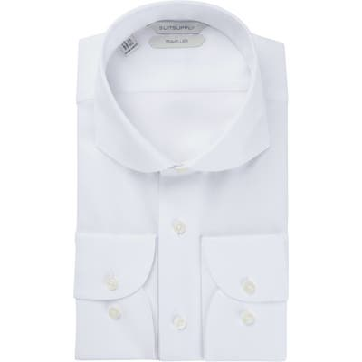 Suitsupply Traveler Slim Fit White Button-Up Dress Shirt, White