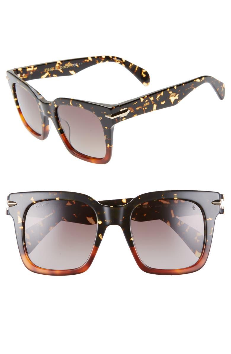 RAG & BONE 51mm Polarized Gradient Square Sunglasses, Main, color, BLACK/ HAVANA HONEY