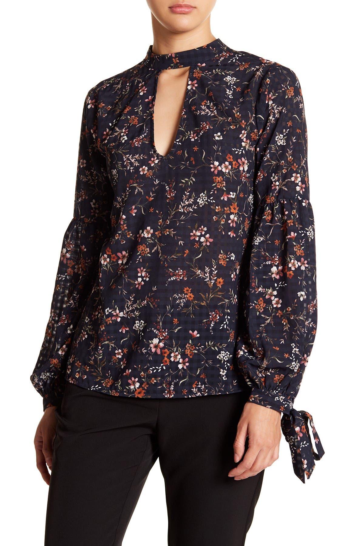 Image of Tularosa Eli Floral Keyhole Long Sleeve Blouse
