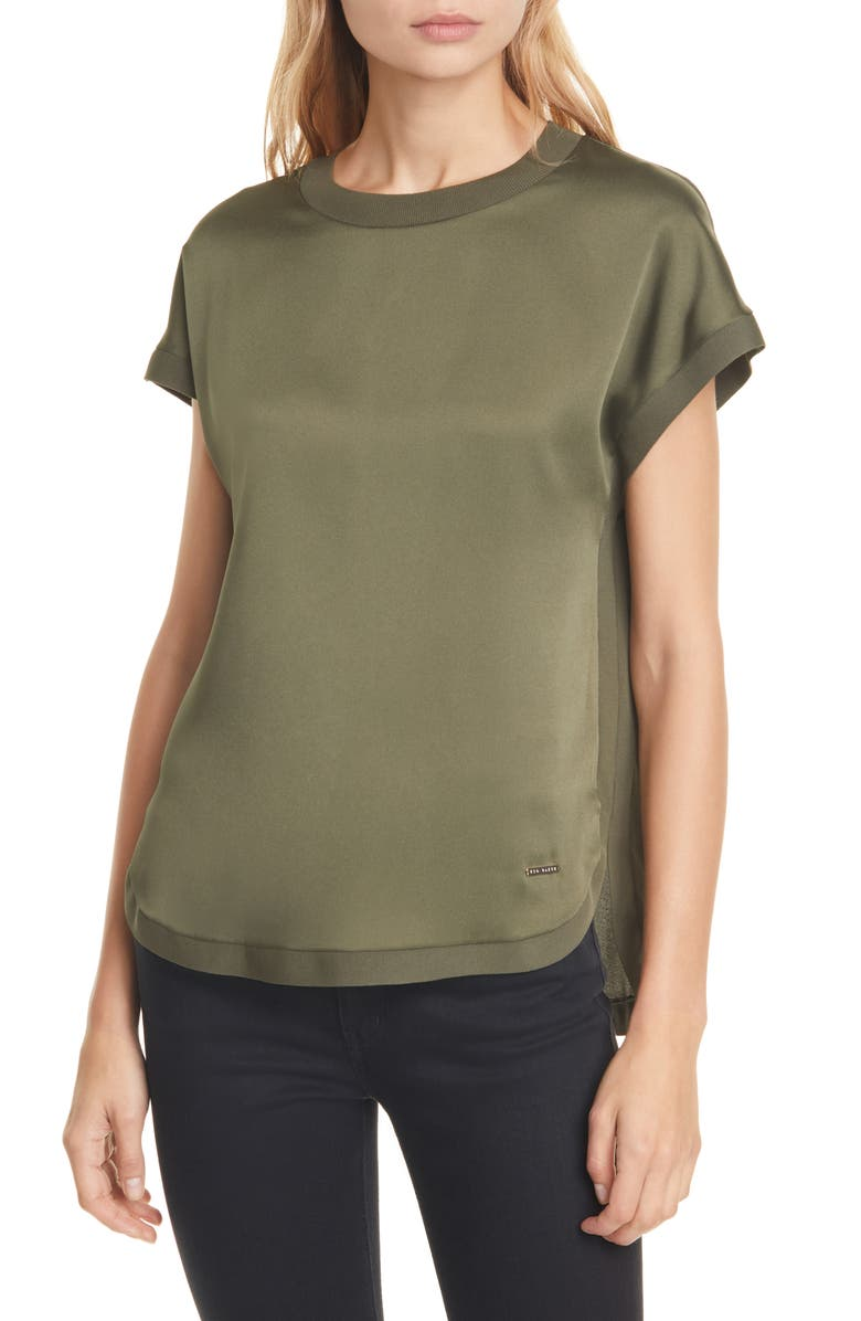 TED BAKER LONDON Rozia Crewneck Short Sleeve Top, Main, color, KHAKI