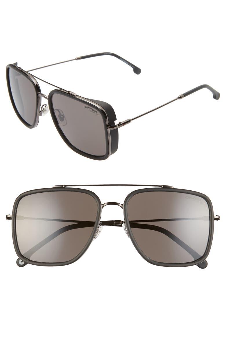 CARRERA EYEWEAR 57mm Navigator Sunglasses, Main, color, RUTHENIUM BLACK/ GREY BLUE
