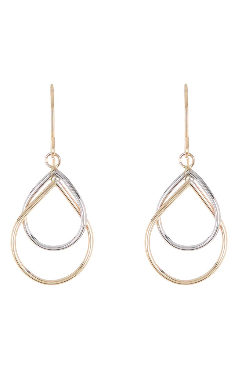 CANDELA JEWELRY 14K Yellow & White Gold Pear Shape Drop Earrings, Main, color, yellow and white gold
