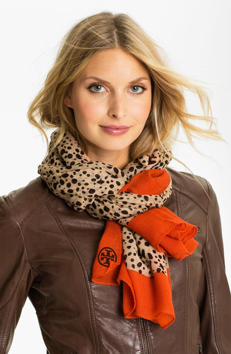 TORY BURCH 'Cheetah' Wool Scarf, Main, color, 600