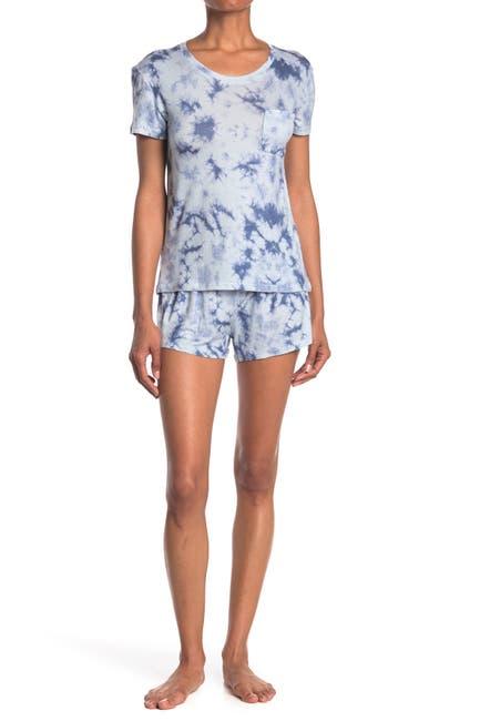 Image of Wallflower Tie Dye 2-Piece T-Shirt & Shorts Pajama Set