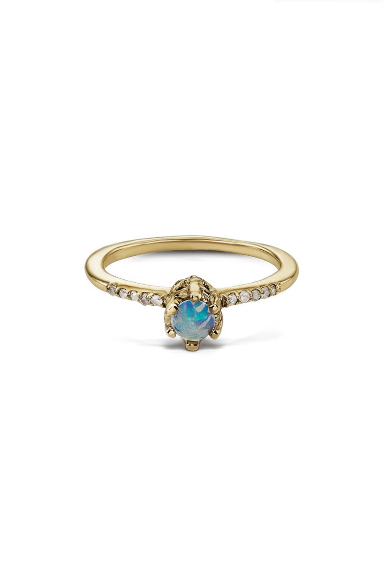 MANIAMANIA Entity Opal & Diamond Solitaire Ring, Main, color, YELLOW GOLD/ OPAL