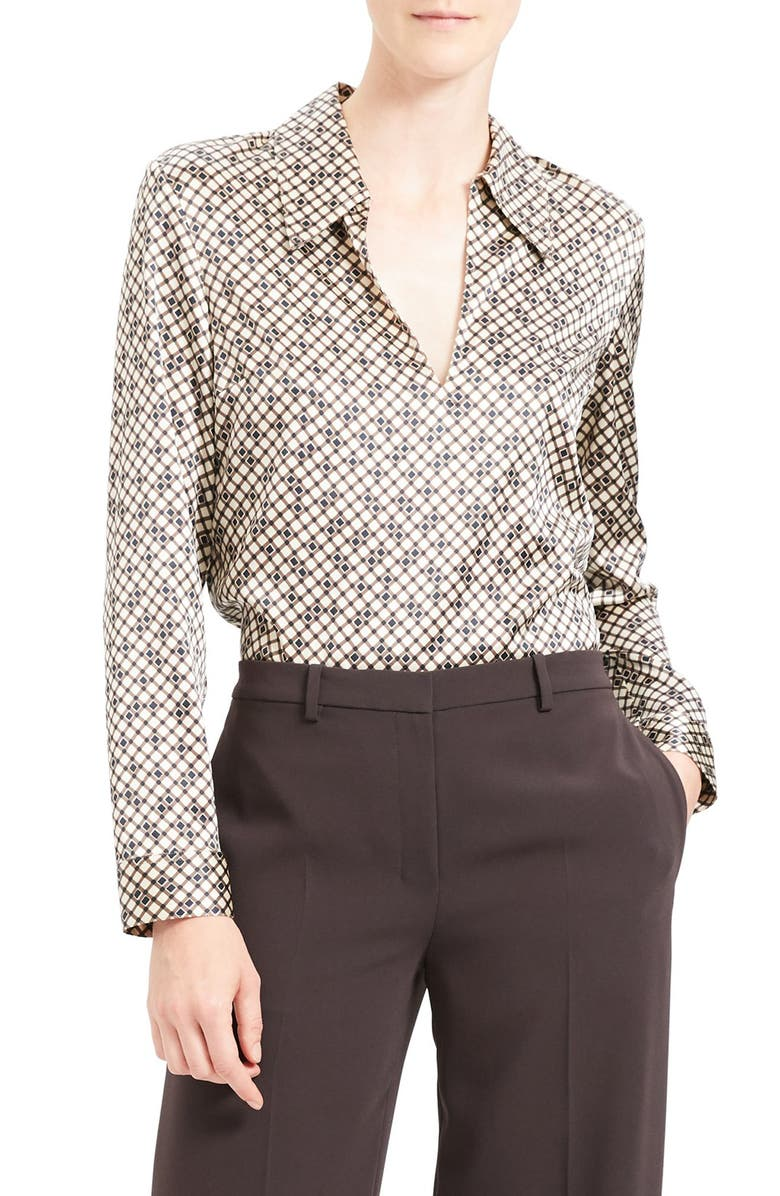 THEORY Geometric Print Stretch Silk Blouse, Main, color, 900