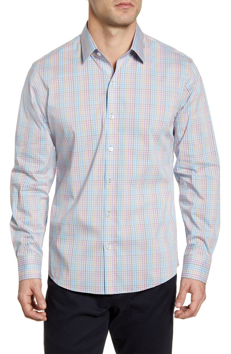 ZACHARY PRELL Alesi Regular Fit Check Button-Up Performance Shirt, Main, color, ICE BLUE