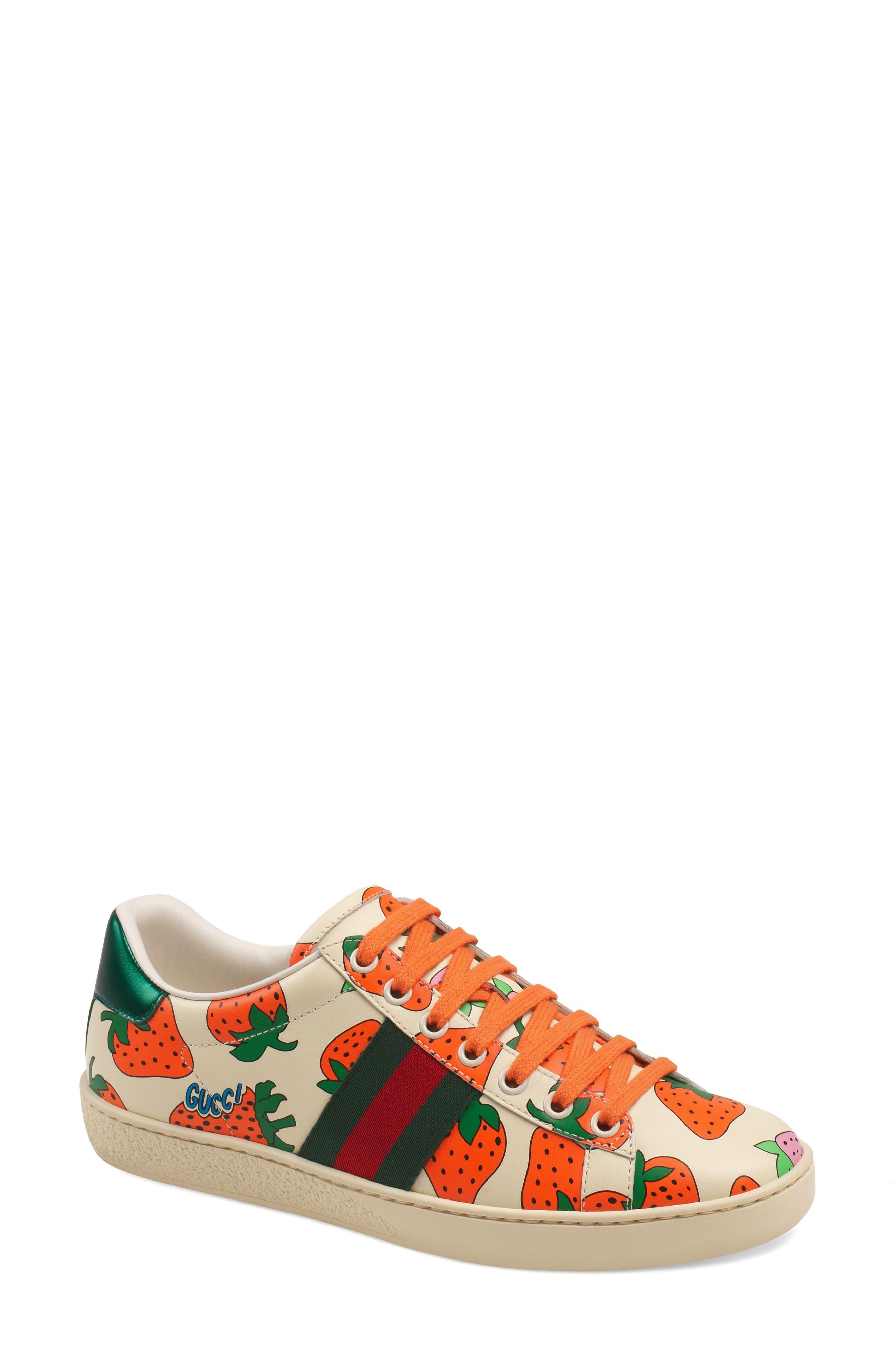 Gucci New Ace Strawberry Print Sneaker, White