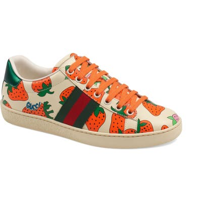 Gucci New Ace Strawberry Print Sneaker, White