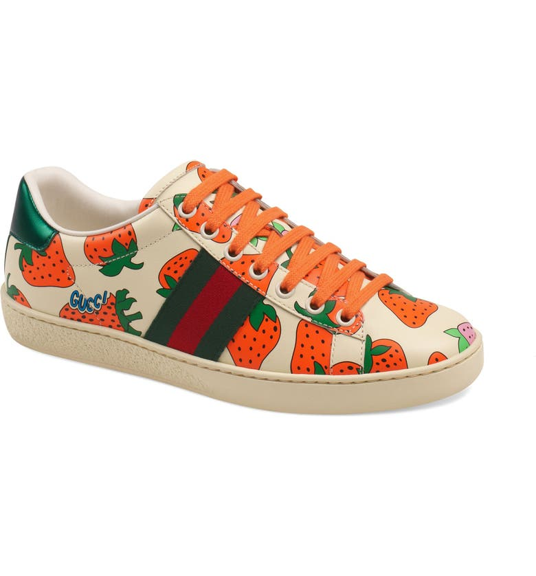 GUCCI New Ace Strawberry Print Sneaker, Main, color, WHITE/ RED