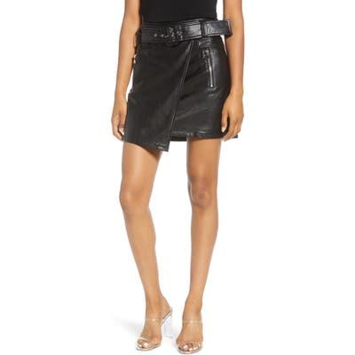 J.o.a. Faux Leather Wrap Miniskirt, Black
