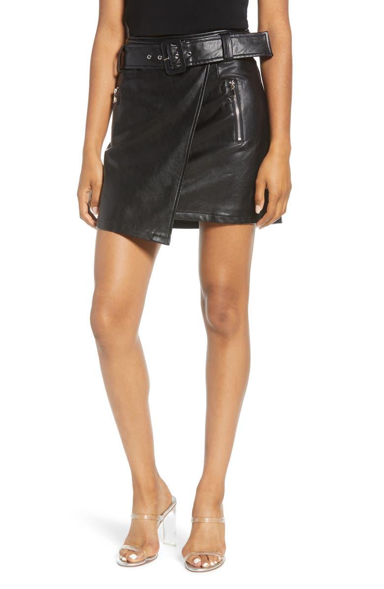 J.O.A. Faux Leather Wrap Miniskirt, Main, color, BLACK