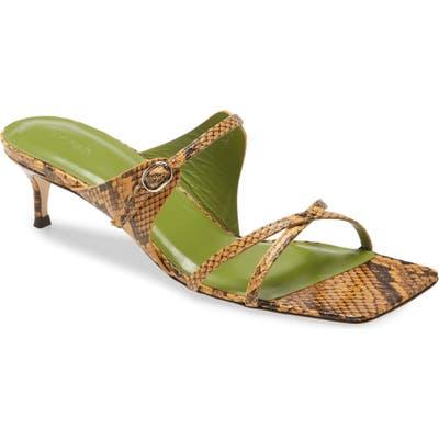 By Far Snake Embossed Slide Sandal, Yellow