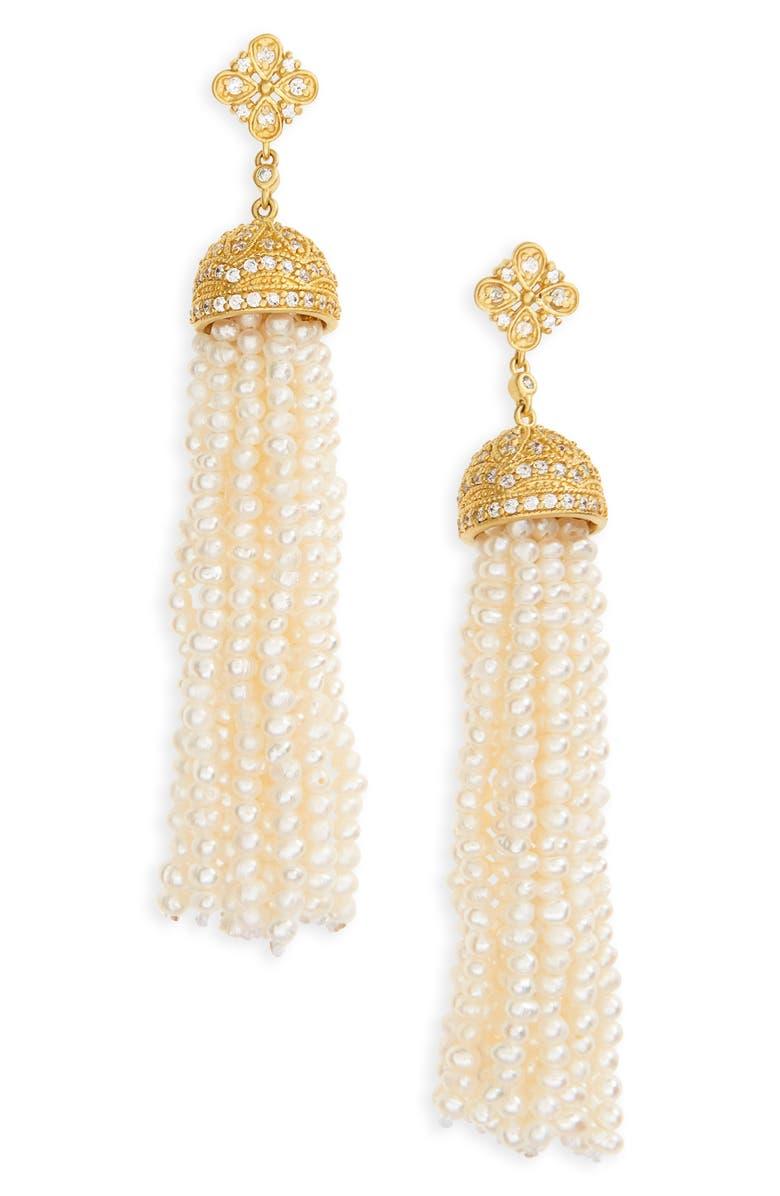 FREIDA ROTHMAN Audrey Waterfall Tassel Pearl Earrings, Main, color, 710