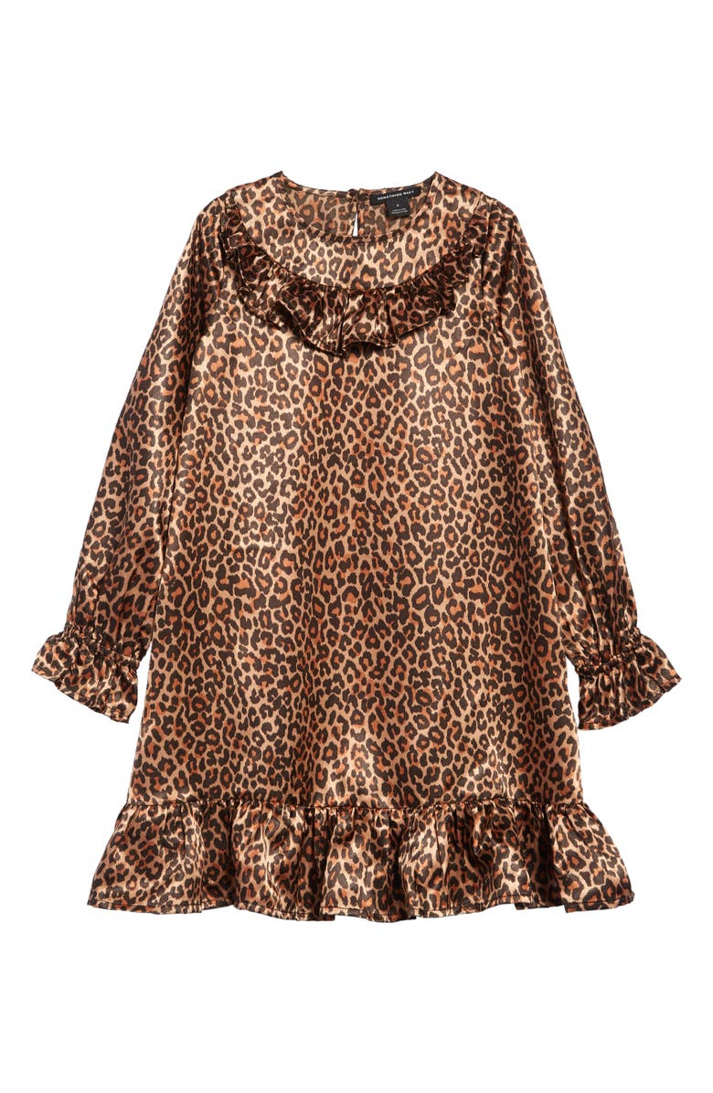 SOMETHING NAVY Leopard Print Ruffle Long Sleeve Dress, Main, color, TAN MACAROON LEOPARD