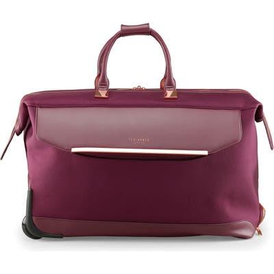 Ted Baker London 24-Inch Large Front Pocket Rolling Duffle Bag - Burgundy