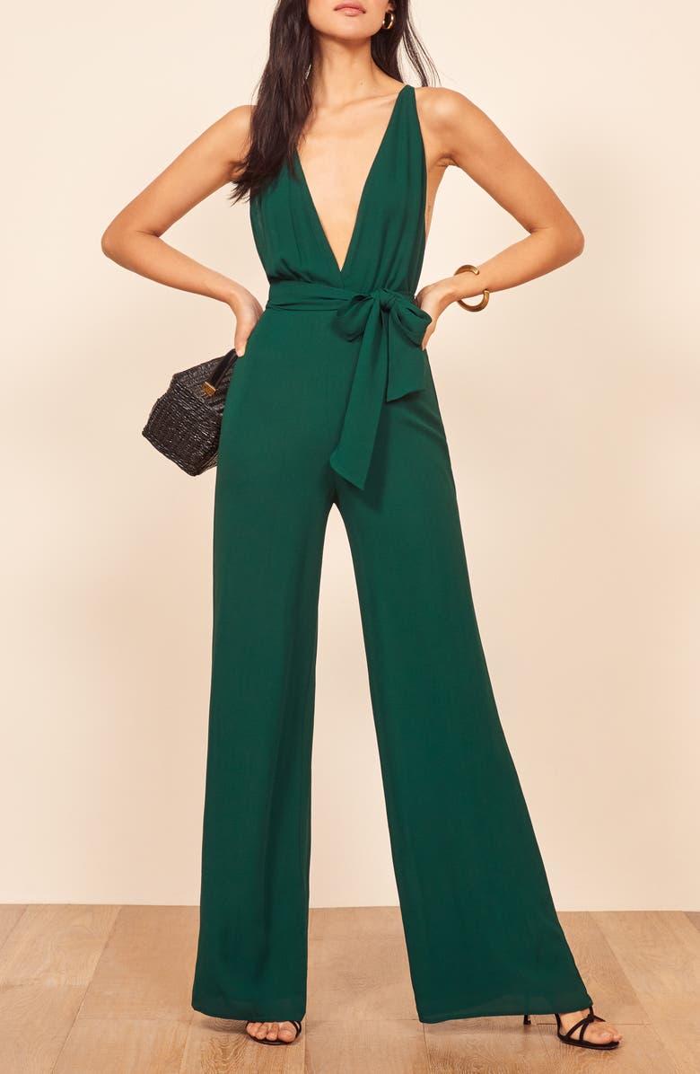REFORMATION Sofi Tie Waist Jumpsuit, Main, color, 300