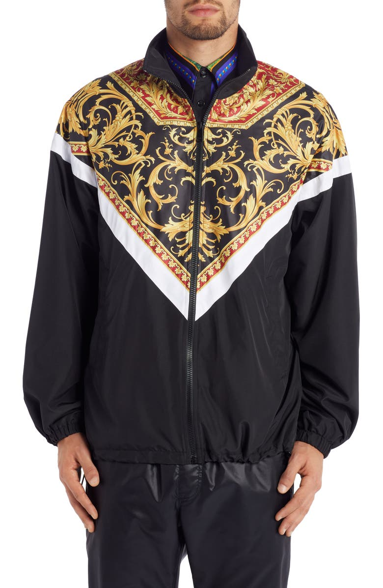 VERSACE Baroque Jacket, Main, color, RED PRINT