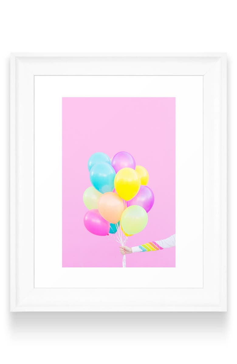 DENY DESIGNS Balloons Art Print, Main, color, WHITE FRAME- 8X10