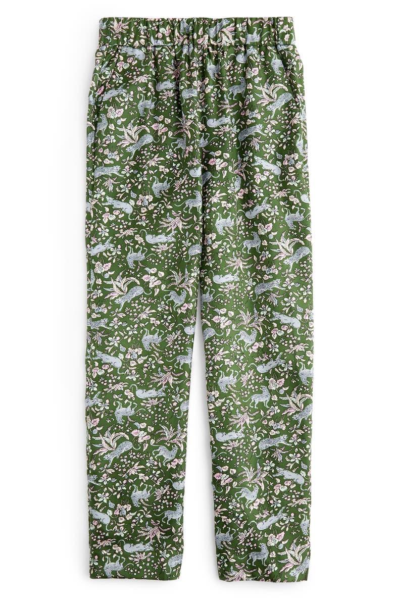J.CREW Pull-On Print Silk Twill Easy Pants, Main, color, 300