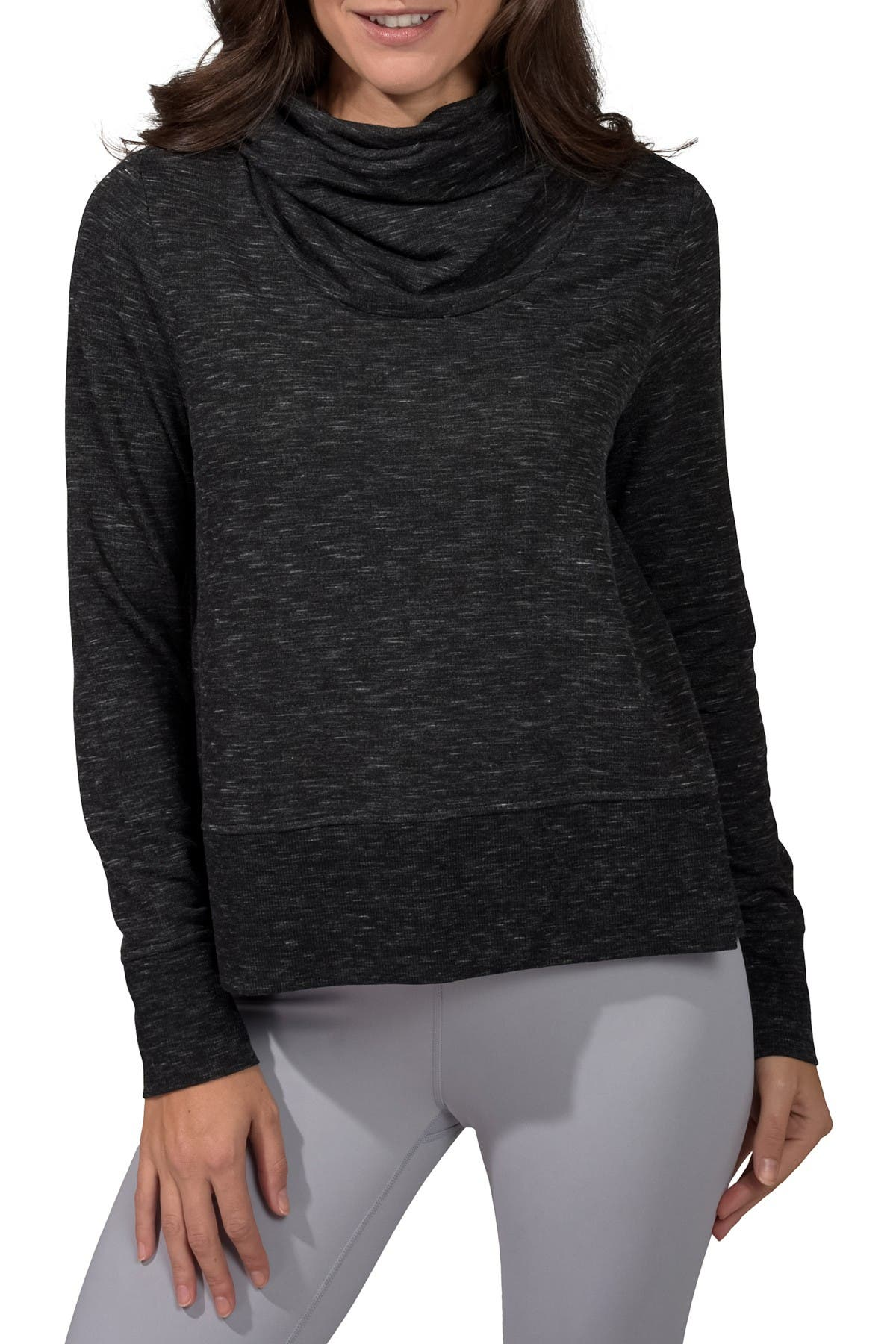 Image of 90 Degree By Reflex Terry Brushed Long Sleeve Cropped Cow Neck Top