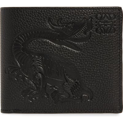 Loewe Animal Embossed Leather Bifold Wallet - Black