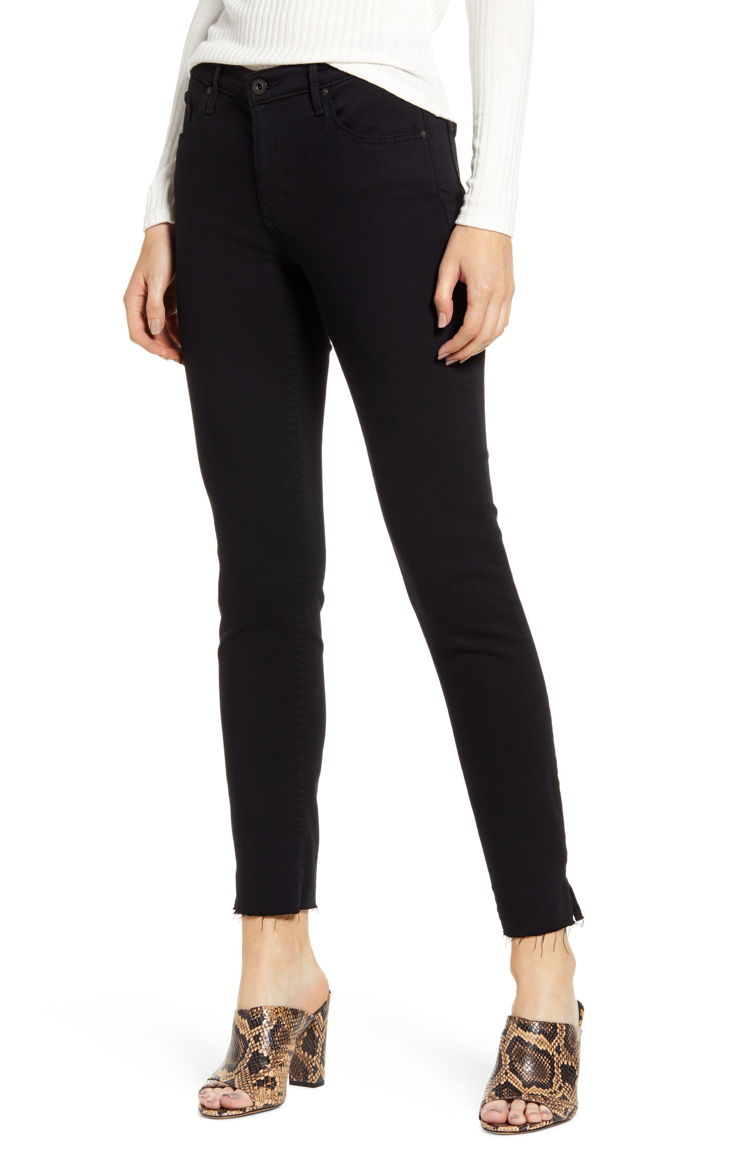 AG The Prima Raw Hem Ankle Skinny Jeans (Super Black)