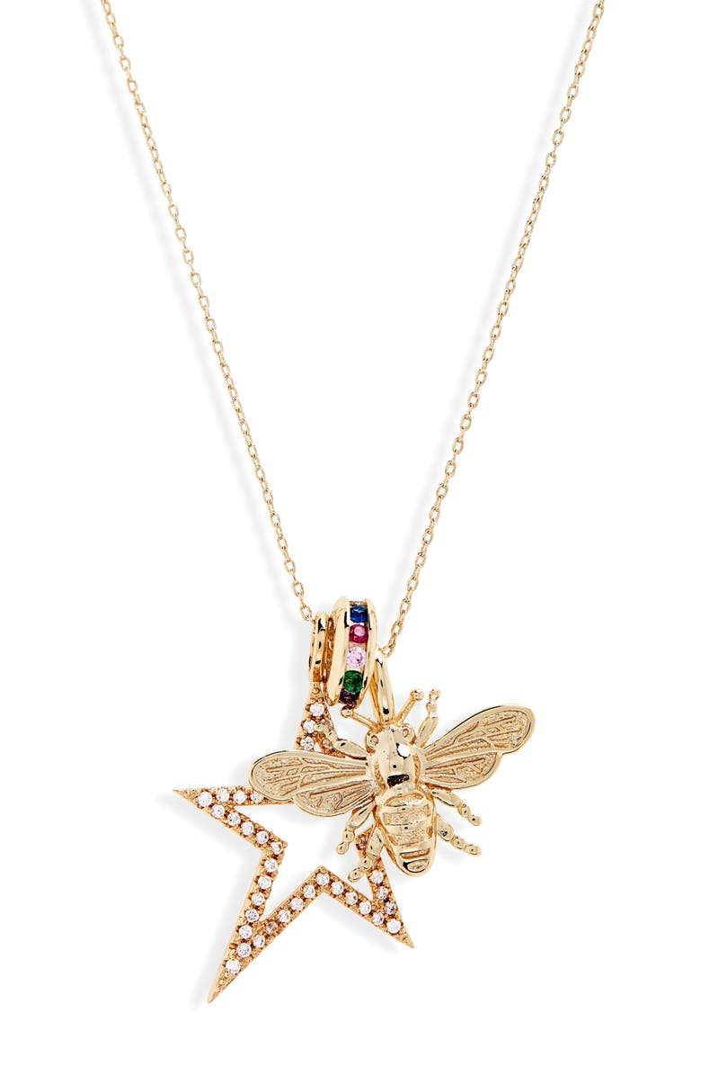 MELINDA MARIA Bee Bright Charm Necklace, Main, color, GOLD/ WHITE CZ/ RAINBOW CZ