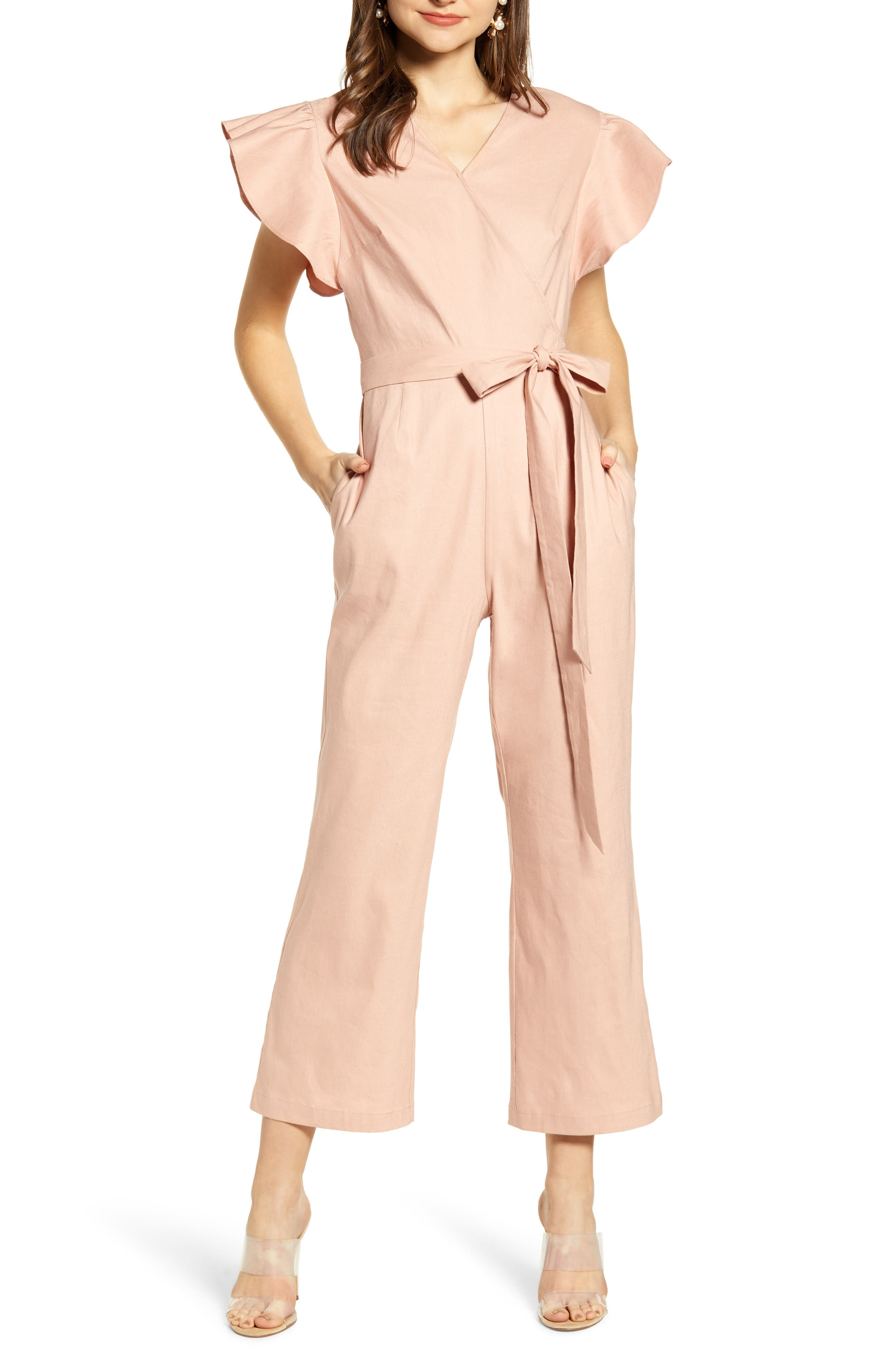 ,                             Ruffle Sleeve Jumpsuit,                             Main thumbnail 1, color,                             680
