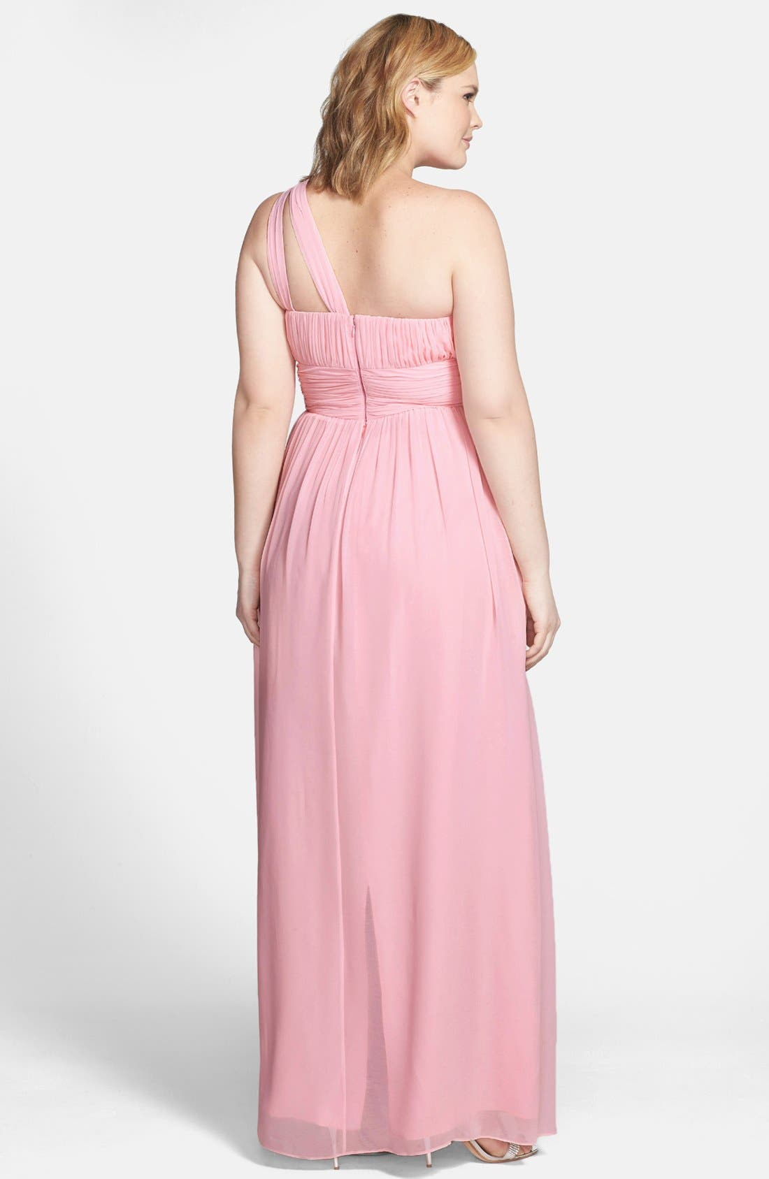 ,                             'Rachel' Ruched One-Shoulder Chiffon Gown,                             Alternate thumbnail 105, color,                             650