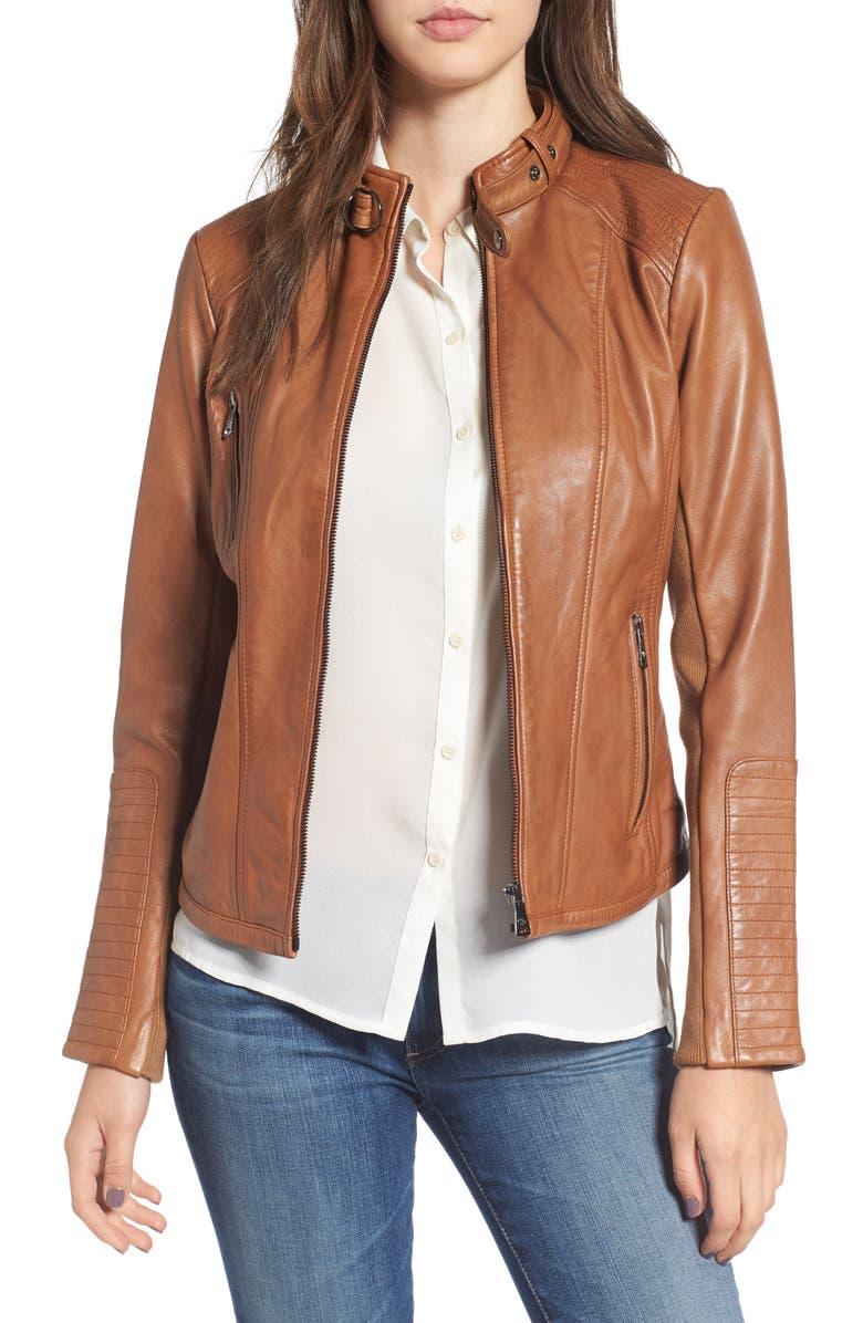 BERNARDO Zip Front Leather Biker Jacket, Main, color, 206
