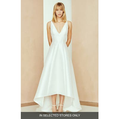 Nouvelle Amsale Calvin V-Neck High/low Dress, Size - Ivory
