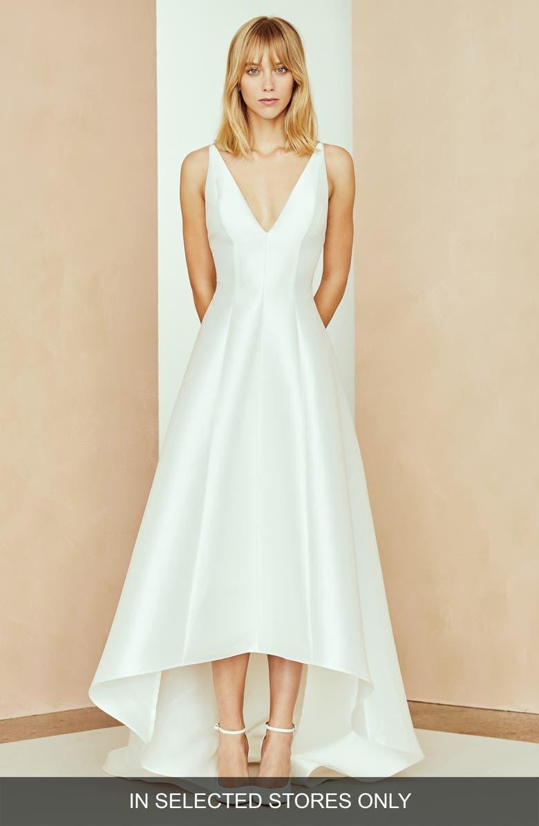 NOUVELLE AMSALE Calvin V-Neck High/Low Dress, Main, color, IVORY