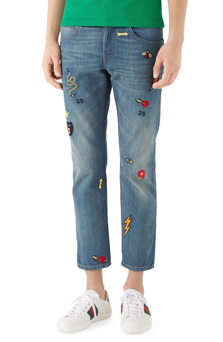 GUCCI Embroidered Slim Fit Jeans, Main, color, BLUE