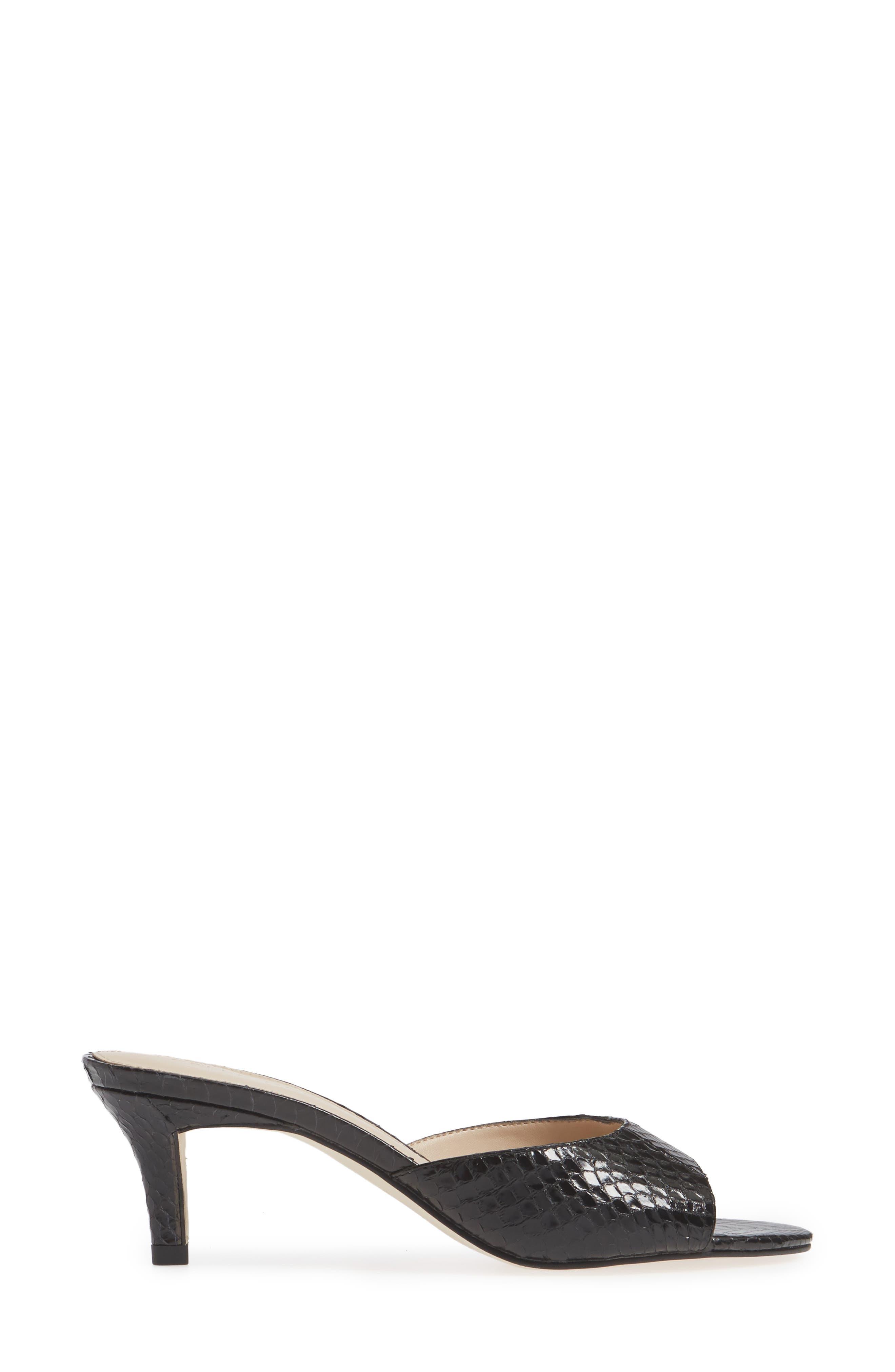 ,                             Bex Kitten Heel Slide Sandal,                             Alternate thumbnail 3, color,                             BLACK PRINT LEATHER