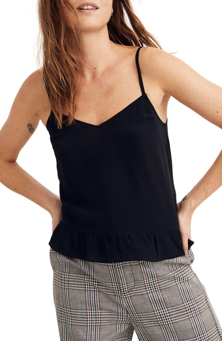 MADEWELL Silk Ruffle Hem Cami Top, Main, color, TRUE BLACK