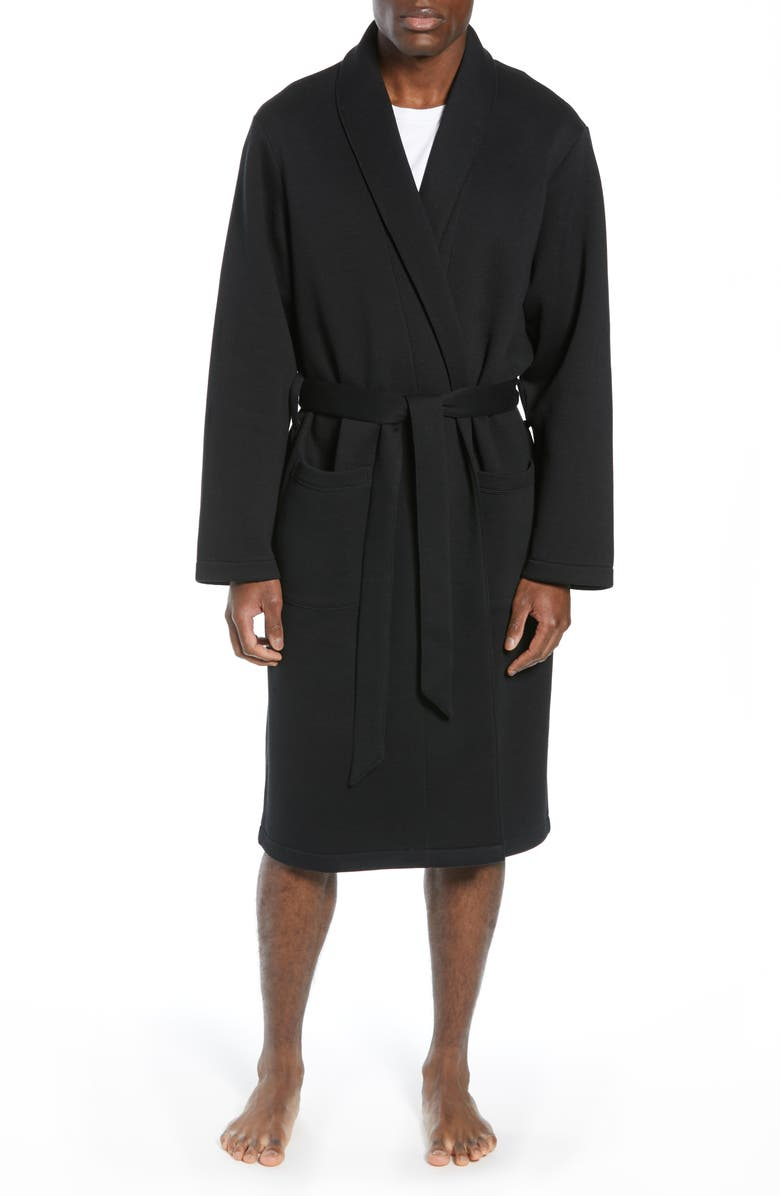 NORDSTROM MEN'S SHOP Piqué Robe, Main, color, BLACK