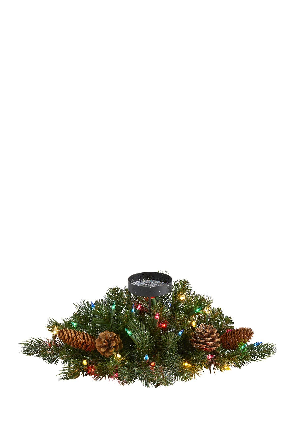 """Image of NEARLY NATURAL 16"""" Flocked & Glittered Light-Up Artificial Christmas Pine Candelabrum"""