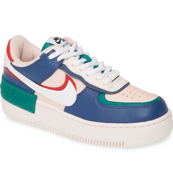 Nike Air Force 1 Shadow Sneaker In Mystic Navy White Pink Red