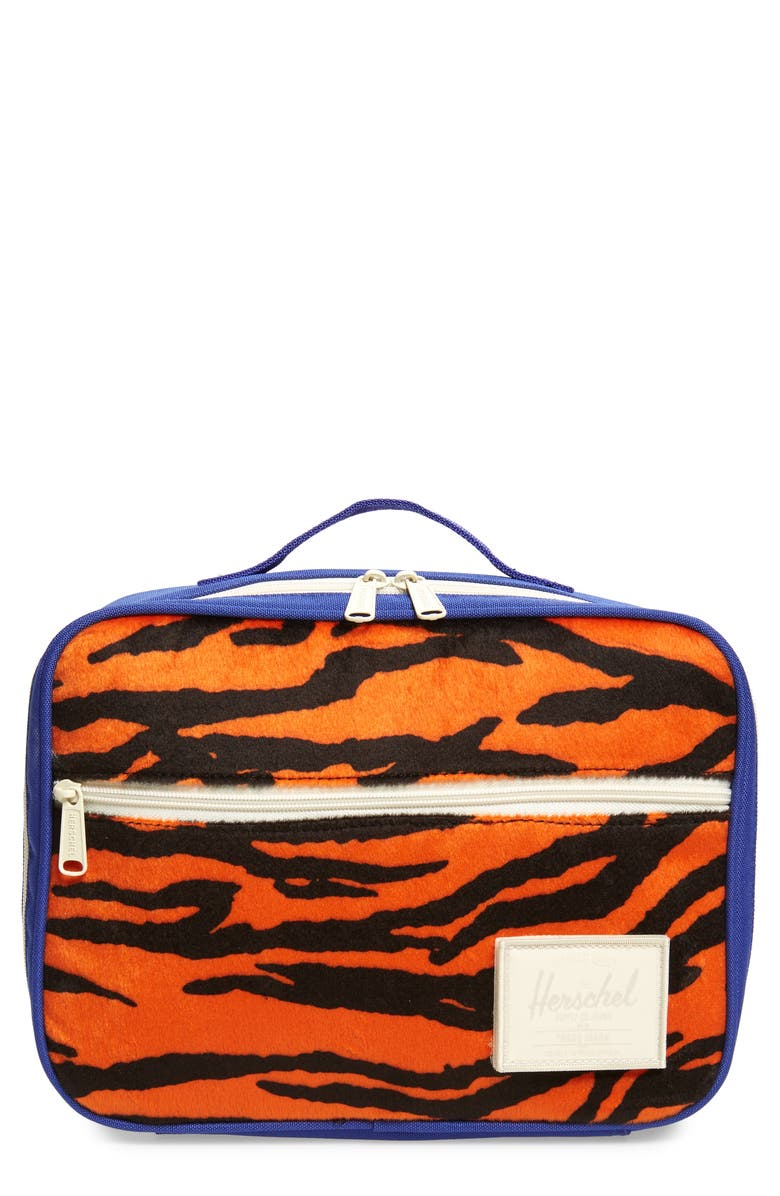 HERSCHEL SUPPLY CO. Pop Quiz Insulated Lunch Box, Main, color, TIGER/ ROYAL BLUE