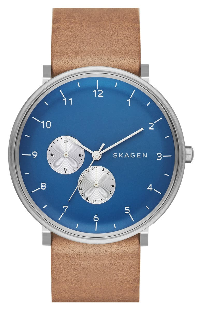 SKAGEN 'Hald' Multifunction Leather Strap Watch, 40mm, Main, color, 200