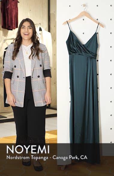 Faux Wrap Satin Gown, sales video thumbnail